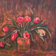 Flowers Of Pink In Vase Poster