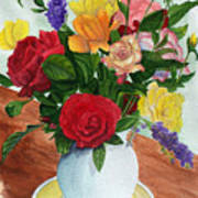 Flowers On A Cat Dish Poster