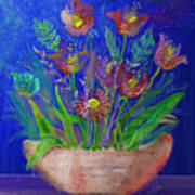 Flowers On Blue Poster