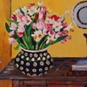 Flowers On The Desk Poster