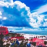 Fluffy Clouds Over Clearwater Beach Poster