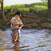 Fly Fisherman Poster by Kenneth Young