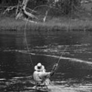 Fly Fishing In Black And White Poster