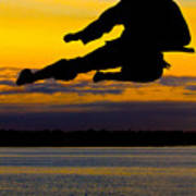 Flying Kick Over Muskegon Lake Poster