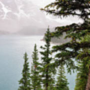 Fog Going Down At Lake Moraine Poster