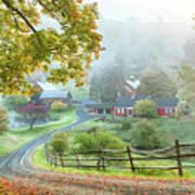 Fog On Sleepy Hollow Farm Poster