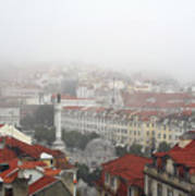 Foggy Day At Lisbon. Portugal Poster