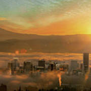 Foggy Morning Over Portland Cityscape During Sunrise Poster