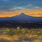 Foggy Portland City Downtown At Dawn Poster