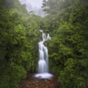 Foggy Waterfall Poster