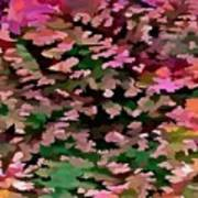 Foliage Abstract In Pink, Peach And Green Poster
