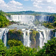 Foliage In And Around Waterfalls In Iguazu Falls National Park-brazil  Poster