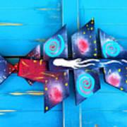 Folk Art Galactic Space Fish Poster