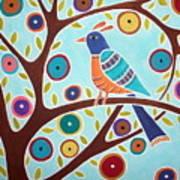 Folk Bird In Tree Poster