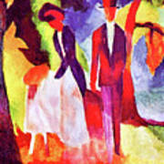 Folks At The Blue Sea By August Macke Poster