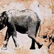 Following Mum - Mother And Baby Elephant Animal Decorative Poster  4 - By Diana Van Poster
