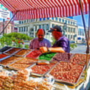 Food Booth In Valparaiso Square-chile Poster