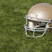 Football Helmet On Artificial Turf Poster