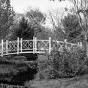 Footbridge In Black And White Poster