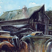 Ford Cabriolets Guard the Barn Poster