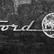 Ford F-100 Emblem On A Rusted Hood Poster