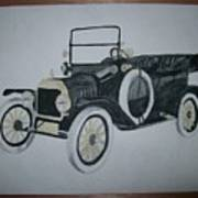 Ford Modl T 1a Original Watercolor Painting By Pigatopia Poster