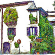Foreshortening Of House Covered With Climbing Plants Poster