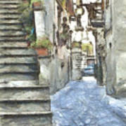 Foreshortening With Stairs Poster