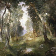 Forest Glade Poster by Thomas Moran