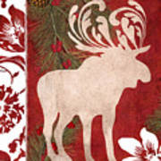Forest Holiday Christmas Moose Poster