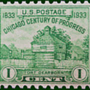 Fort Dearborn Postage Stamp Poster