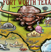 Fort Worth Texas Cartoon Map Poster