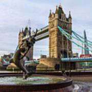 Fountain And Bridge Poster