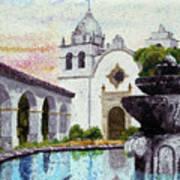 Fountain At Carmel Poster