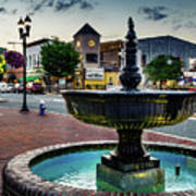 Fountain In Small Town Poster