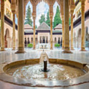 Fountain Of Lions At The Alhambra Poster