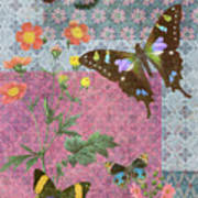Four Butterfly Patch Blue Poster