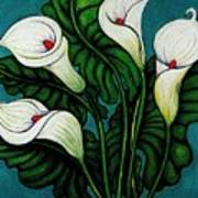 Four Long Lilies Poster