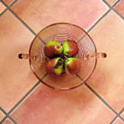 Four Pears In A Bowl On Tile Poster