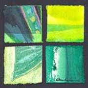 Four Squares Green, Yellow Green, Black Poster