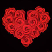 Fourteen Roses Poster by Wim Lanclus