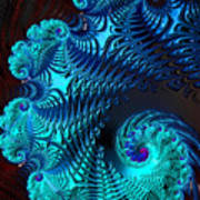 Fractal Art - Blue Wave Poster