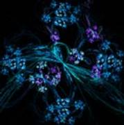 Fractal Forget Me Not Bouquet  Poster
