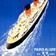 France Cruise Vintage Travel Poster Restored Poster