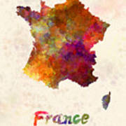 France In Watercolor Poster