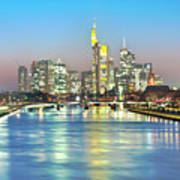 Frankfurt  Night Skyline Poster