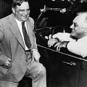 Franklin Roosevelt And Fiorello Laguardia In Hyde Park - 1938 Poster