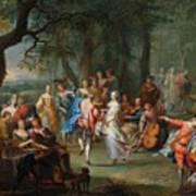 Franz Christoph Janneck Graz 1703-1761 Vienna A Dance In The Palace Gardens, Poster