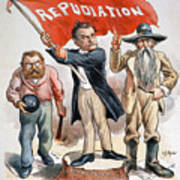 Free Silver Cartoon, 1896 Poster