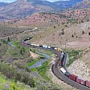 Freight Snaking Through Price Canyon Utah Poster